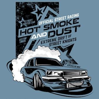 Fumaça quente e poeira, ilustração do carro de deriva