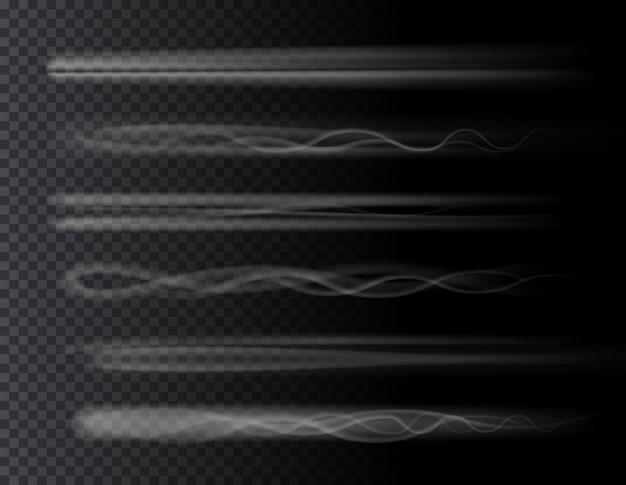 Fumaça trilha aérea definida efeitos isolados d em plano de fundo transparente foguete avião jato ou avião
