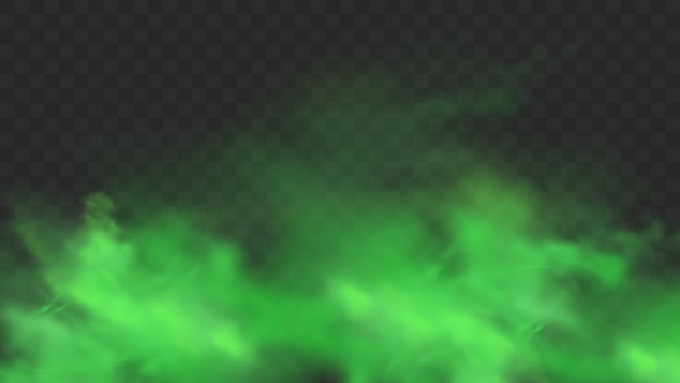 Fumaça verde isolada em fundo transparente. realista verde mau cheiro, nuvem de névoa mágica, gás tóxico químico, ondas de vapor. ilustração realista