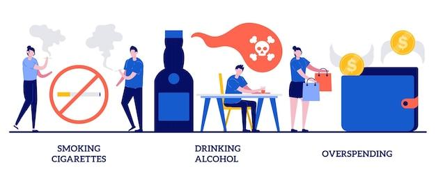 Fumando cigarros, bebendo álcool, gastando demais. conjunto de maus hábitos, tabaco e vício em nicotina