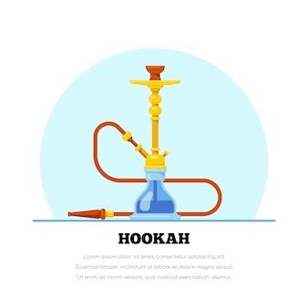 Fumando narguilé em ilustração de estilo simples