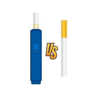 Fumar contra vaping. dispositivo de cigarro eletrônico ou vaporizador e charuto de tabaco. ilustração vetorial.