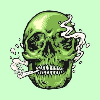Fumar erva daninha crânio verde ilustrações desenhadas à mão