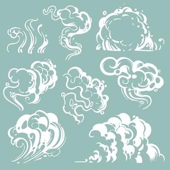 Fumo branco dos desenhos animados e nuvens de poeira. vapor de vetor em quadrinhos isolado