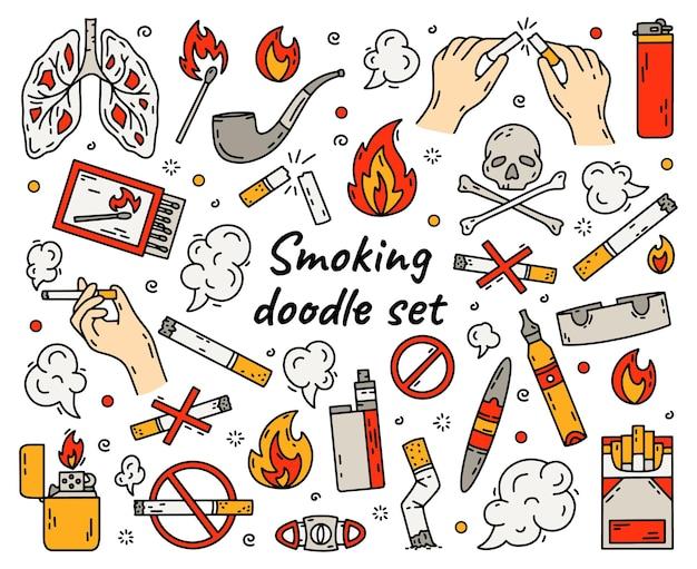 Fumo de cigarro definido em ilustração de estilo doodle
