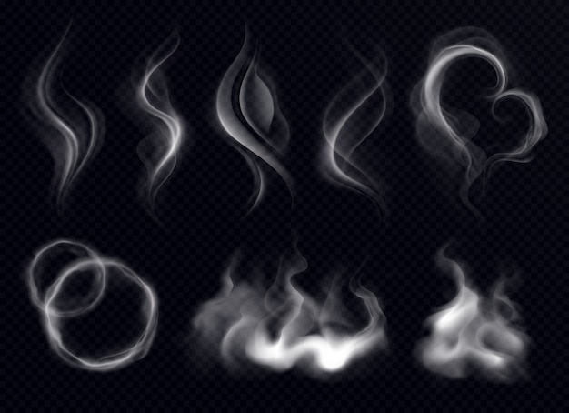 Fumo de vapor com anel e redemoinho forma realista conjunto branco sobre fundo transparente escuro isolado