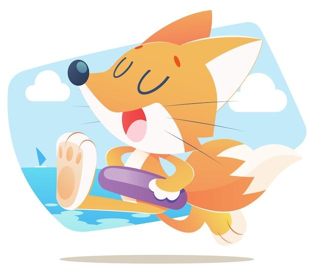 Fun fox, ilustração dos desenhos animados, isolar em fundo branco