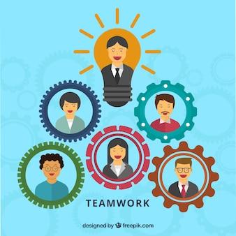 Função de trabalho em equipe com design plano