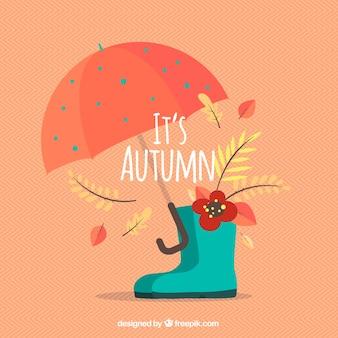 Funcional composição de outono com guarda-chuva e botas