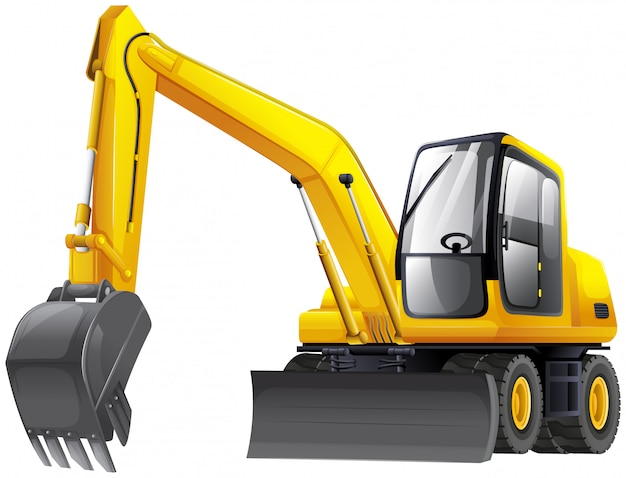 Funcionamento do veículo escavadeira