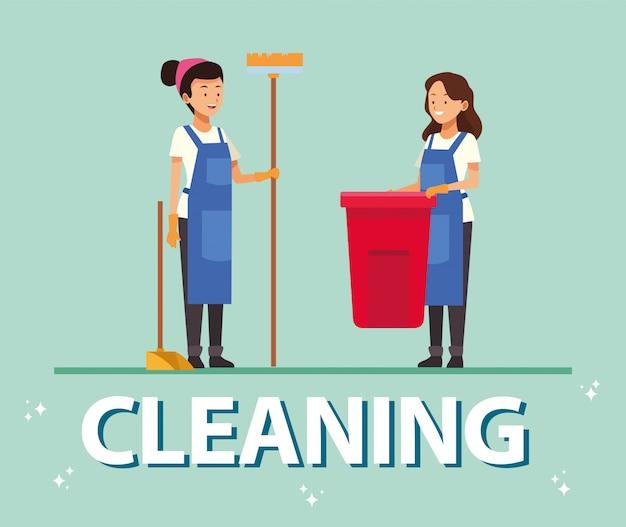 Funcionárias da equipe de limpeza com ferramentas de equipamento