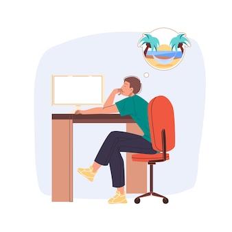 Funcionário cansado sonha com o esgotamento das férias