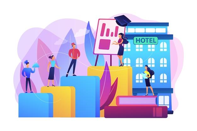 Funcionário, chef, empregada doméstica e educação do porteiro. cursos de hospitalidade, treinamento de pessoal de hotelaria, conceito de programa de treinamento da indústria de hotéis.