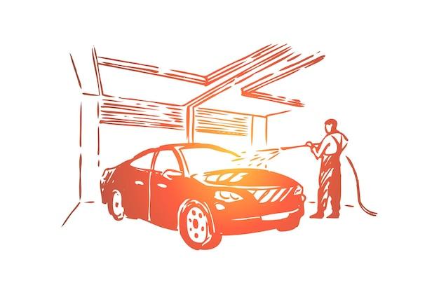 Funcionário da estação de atendimento automóvel, trabalhador da manutenção segurando a ilustração da mangueira Vetor Premium