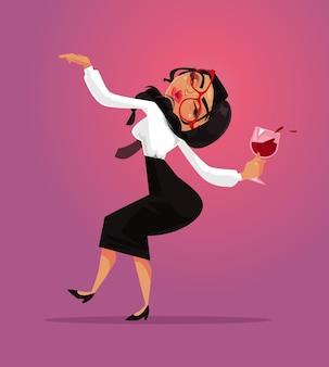 Funcionário do colarinho do gerente se divertir e beber vinho alcoólico