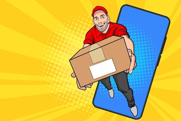 Funcionário do entregador com uma caixa grande saindo do smartphone em estilo quadrinhos retro vintage pop art