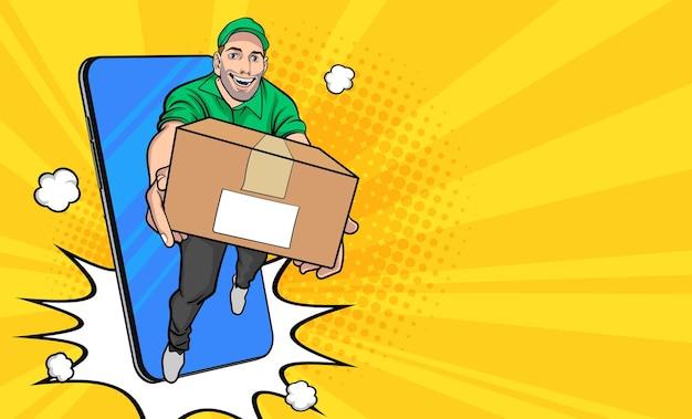 Funcionário do entregador com uma caixa para fora do celular em estilo de quadrinhos retro vintage pop art Vetor Premium