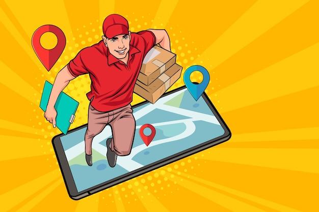 Funcionário do entregador correndo pela navegação do smartphone em estilo quadrinhos retro vintage pop art