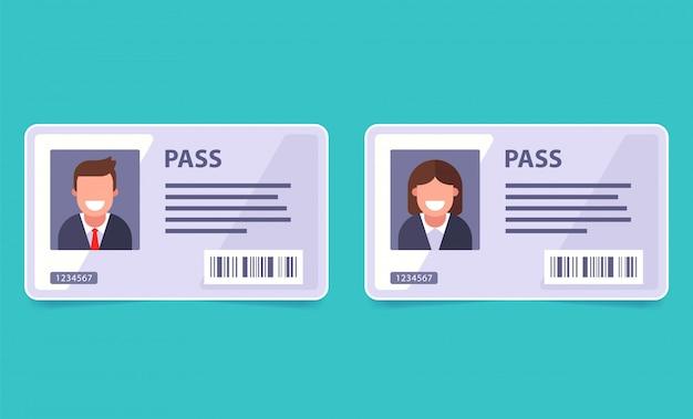 Funcionário do escritório de identificação do cartão-chave. bilhete de identidade de uma pessoa. ilustração plana.