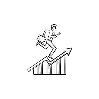Funcionário do homem subindo o ícone de vetor de doodle de contorno desenhado de mão. escada de carreira executando a ilustração do esboço para impressão, web, mobile e infográficos isolados no fundo branco.