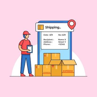 Funcionário do serviço de entrega verificando muitos pedidos de pacote com ilustração de aplicativo móvel de rastreamento