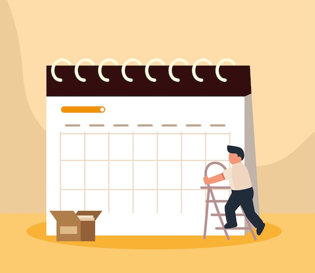 Funcionário e calendário