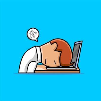 Funcionário fofo dormindo no local de trabalho no desenho do teclado do laptop