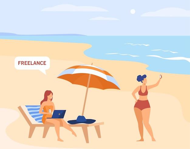 Funcionário freelance trabalhando de férias. freelancer usando laptop no oceano ou na praia
