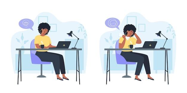 Funcionário produtivo e funcionário confuso e zangado