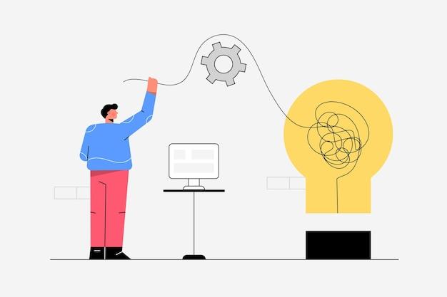 Funcionário trabalhando em soluções de pensamento de escritório, resolução de problemas, tema de negócios