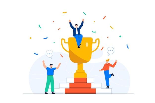 Funcionários comemorando o sucesso da empresa com um grande troféu