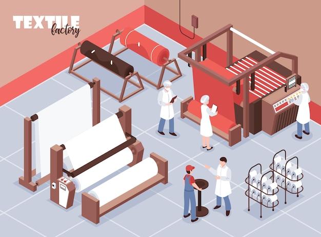 Funcionários da fábrica têxtil e várias máquinas de tecer 3d isométricas