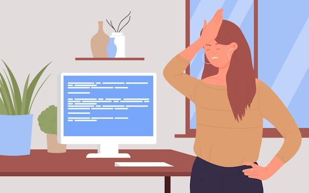 Funcionários de escritório em estresse cansados funcionários infelizes chateados com problema de erro no computador