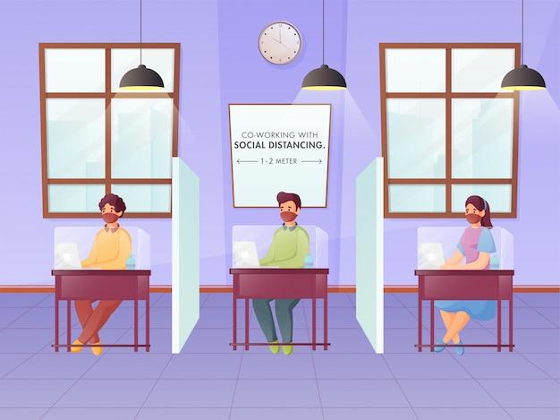 Funcionários de escritório que mantêm distância social durante o trabalho em um local de trabalho separado de plexiglass para prevenir o coronavirus.