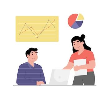 Funcionários de profissionais analisando gráficos