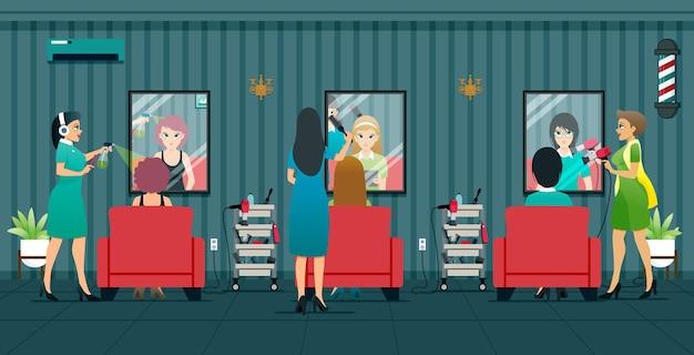 Funcionários de salões de beleza prestam serviços de beleza para mulheres