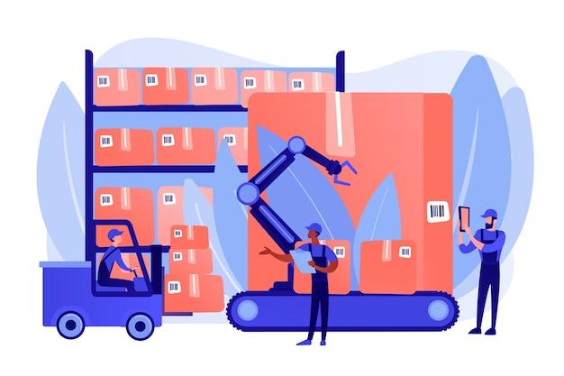 Funcionários do armazém trabalhando, transportando caixas de mercadorias. logística de armazém, uso de tecnologia rfid, conceito de serviço de armazenamento de automação. ilustração de vetor isolado de coral rosa