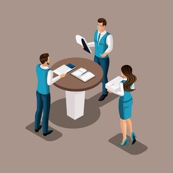 Funcionários do banco isométrico no escritório do banco realizam um brainstorming. reunião de gestores, discussão de assuntos importantes