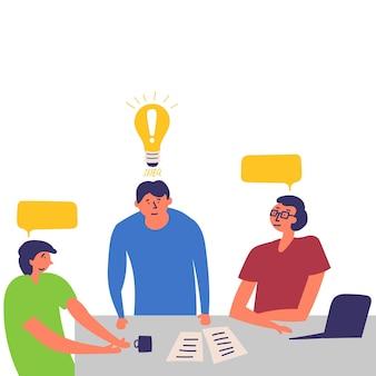 Funcionários do escritório em reunião eles procuram solução problema negociando idéia brainstorm