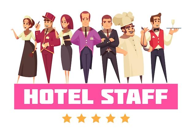 Funcionários do hotel com cinco estrelas