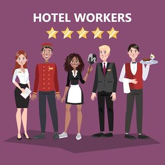 Funcionários do hotel. pessoas de uniforme. recepcionista e garçom