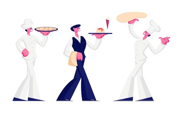 Funcionários do restaurante isolado no fundo branco. ilustração plana dos desenhos animados