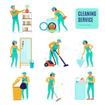 Funcionários do serviço de limpeza durante vários trabalhos domésticos conjunto de ícones planas isolados