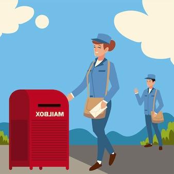Funcionários dos correios com ilustração de bolsa na rua