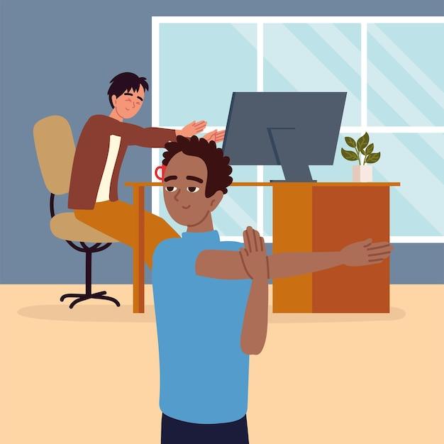 Funcionários fazendo atividade física