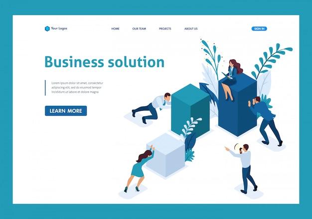 Funcionários isométricos trabalhando juntos para criar uma solução de negócios