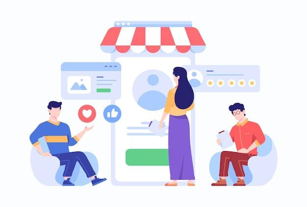 Funcionários masculinos e femininos analisam o perfil online de pessoas no conceito de comércio eletrônico