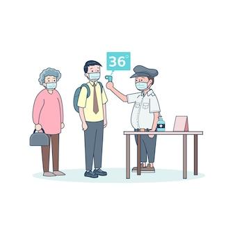 Funcionários usam termômetros para prevenir a infecção covid-2019