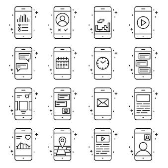 Funções do telefone inteligente e ícone do vetor de aplicativos definidos no estilo de estrutura de tópicos. Ilustração de linha de sinal de coleção móvel.