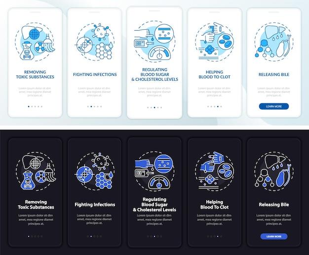 Funções hepáticas integrando a tela da página do aplicativo móvel com conceitos